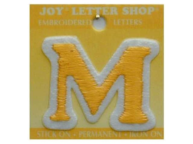 "Joy Lettershop Iron-On Letter ""M"" Embroidered 1 1/2 in. Gold"