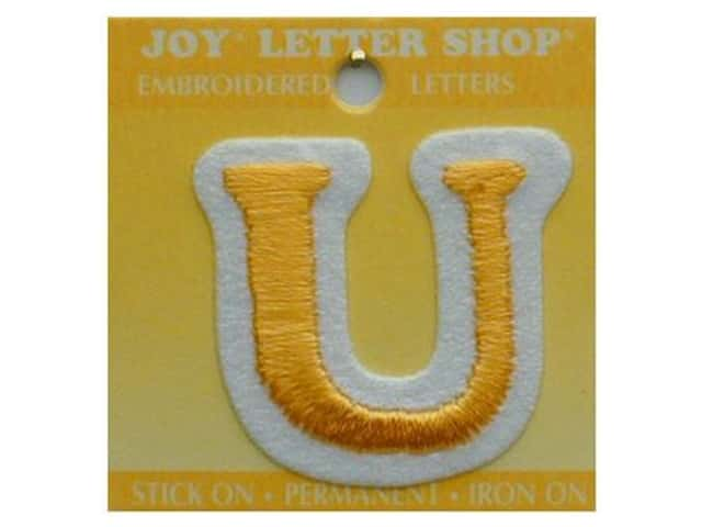 "Joy Lettershop Iron-On Letter ""U"" Embroidered 1 1/2 in. Gold"