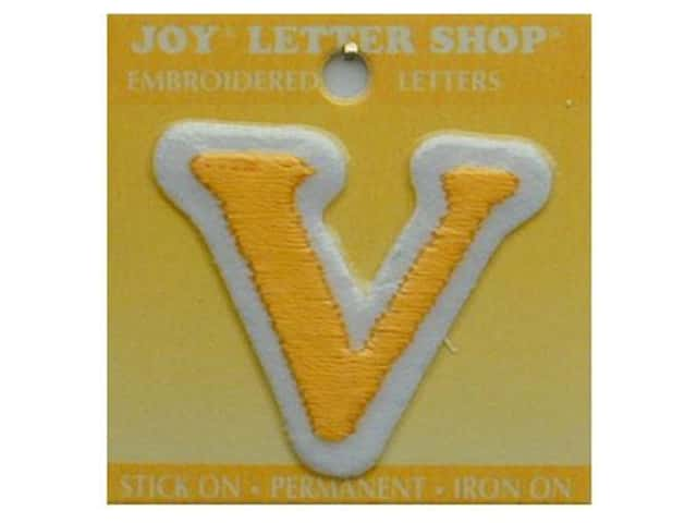"Joy Lettershop Iron-On Letter ""V"" Embroidered 1 1/2 in. Gold"