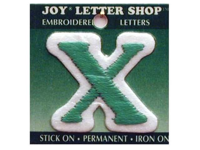 "Joy Lettershop Iron-On Letter ""X"" Embroidered 1 1/2 in. Green"