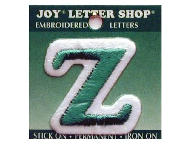 """Joy Lettershop Iron-On Letter """"Z"""" Embroidered 1 1/2 in. Green"""