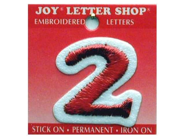 "Joy Lettershop Iron-On Number ""2"" Embroidered 1 1/2 in. Red"
