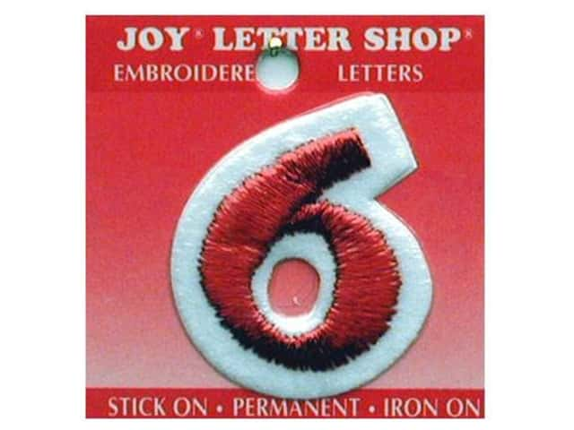 """Joy Lettershop Iron-On Number """"6"""" Embroidered 1 1/2 in. Red"""