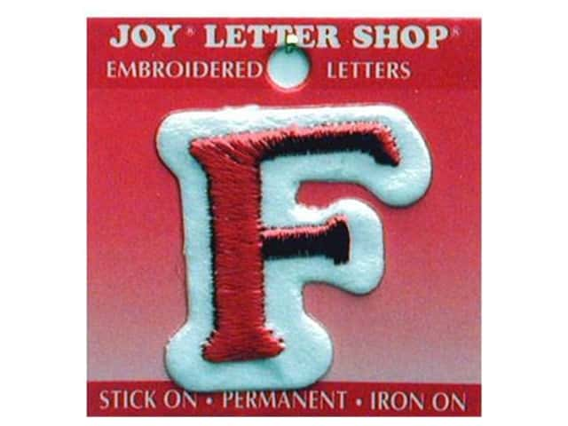 """Joy Lettershop Iron-On Letter """"F"""" Embroidered 1 1/2 in. Red"""