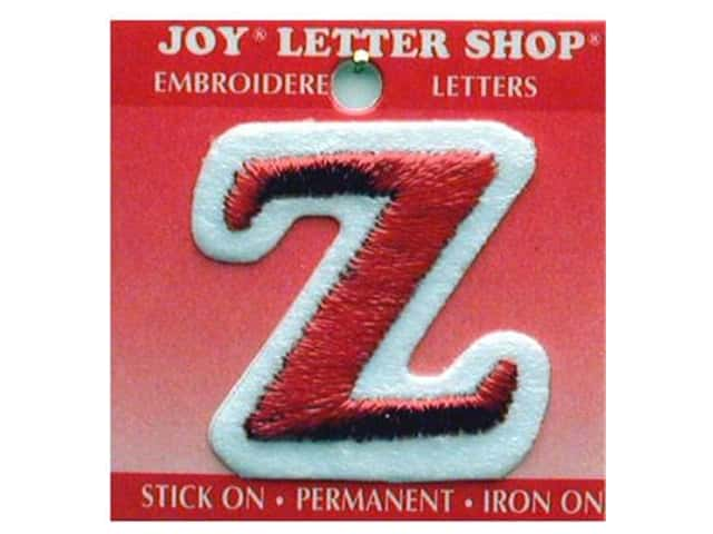 """Joy Lettershop Iron-On Letter """"Z"""" Embroidered 1 1/2 in. Red"""