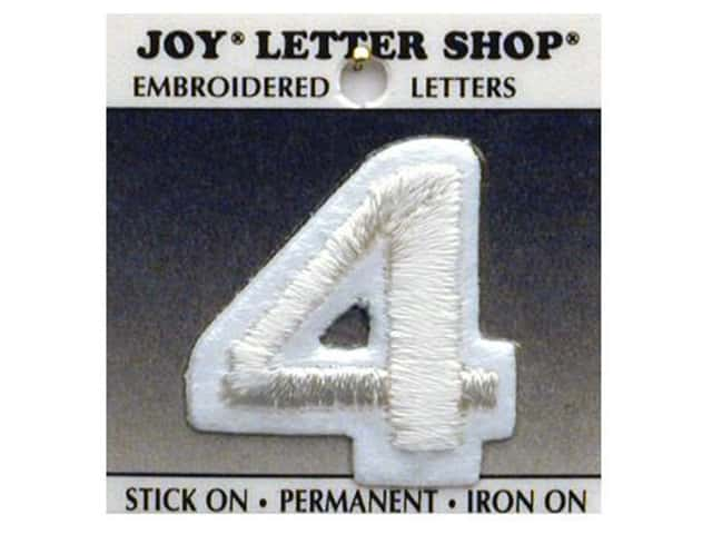 "Joy Lettershop Iron-On Number  ""4"" Embroidered 1 1/2 in. White"