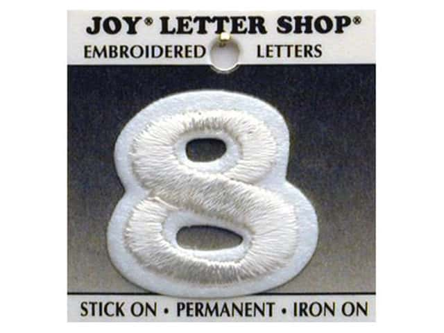 "Joy Lettershop Iron-On Number  ""8"" Embroidered 1 1/2 in. White"