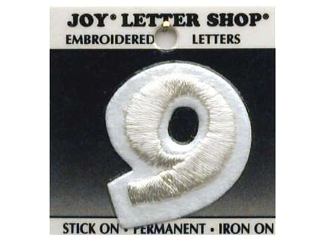 "Joy Lettershop Iron-On Number  ""9"" Embroidered 1 1/2 in. White"