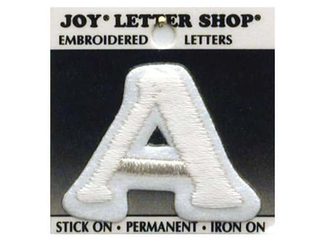 "Joy Lettershop Iron-On Letter ""A"" Embroidered 1 1/2 in. White"