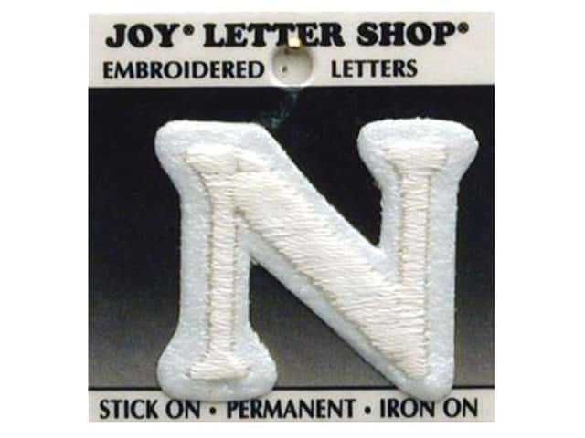 "Joy Lettershop Iron-On Letter ""N"" Embroidered 1 1/2 in. White"