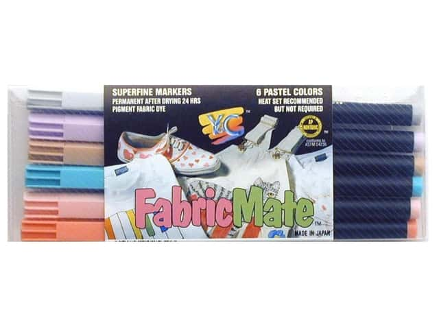 FabricMate Fabric Markers Brush Tip Standard Barrel Set Pastel 6 pc.