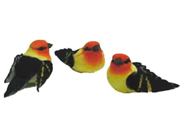 Accent Design Artificial Bird 2 3/4 in. Warbler Red/Yellow/Black 1 pc.