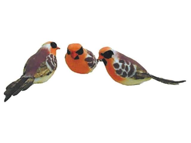 Accent Design Artificial Bird 5 in. Tanager Brown/Orange Feather 1 pc.