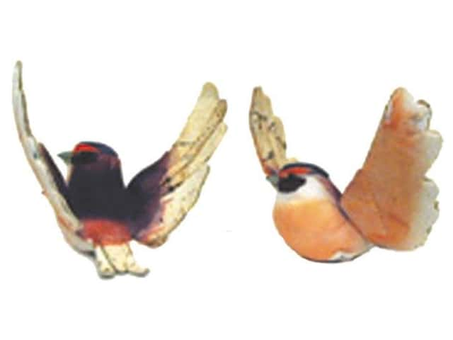 Accent Design Artificial Bird 3 in. Swallow Plum/Peach/Brown 1 pc.