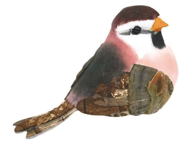 Accent Design Artificial Bird 3 1/2 in. Swallow Pink/White/Brown 1 pc.