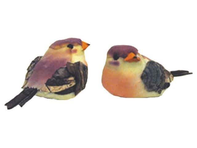 Accent Design Artificial Bird 2 1/2 in. Thrush Plum/Yellow/Brown 1 pc.
