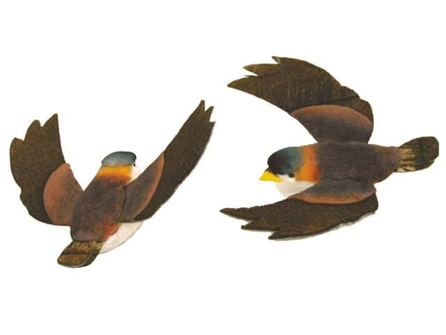 Accent Design Artificial Bird 1 1/4 in. Brown/White/Orange 2 pc.