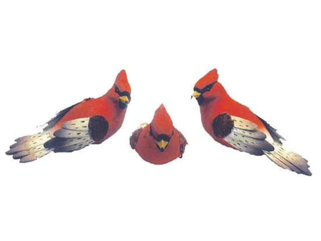 Accent Design Artificial Bird 4 in. Cardinal Red/Black/Lt Brown Feather 1 pc.