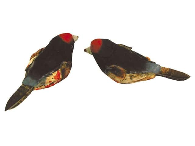 Accent Design Artificial Bird 1 1/2 in. Tanager Brown/Bk/Red 2 pc.