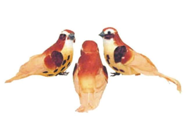 Accent Design Artificial Bird 5 in. Wren Orange/Peach Feather 1 pc.