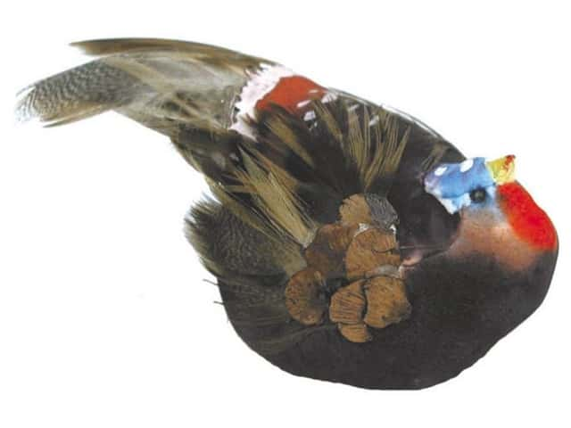 Accent Design Artificial Bird 2 1/2 in. Turkey Brown/Red Feather 1 pc.