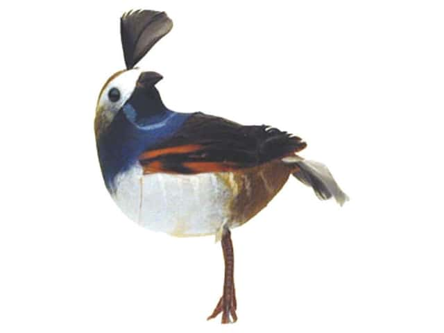 Accent Design Artificial Bird 3 1/2 in. Quail Blue/Brown Feather 1 pc.
