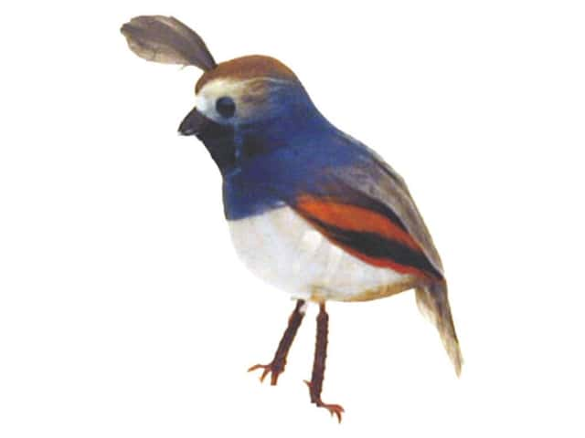 Accent Design Artificial Bird 2 1/2 in. Quail Blue/Wh Feather 1 pc.