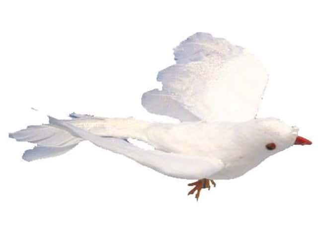 Accent Design Artificial Bird 4 in. Dove White Glitter Feather 1 pc.