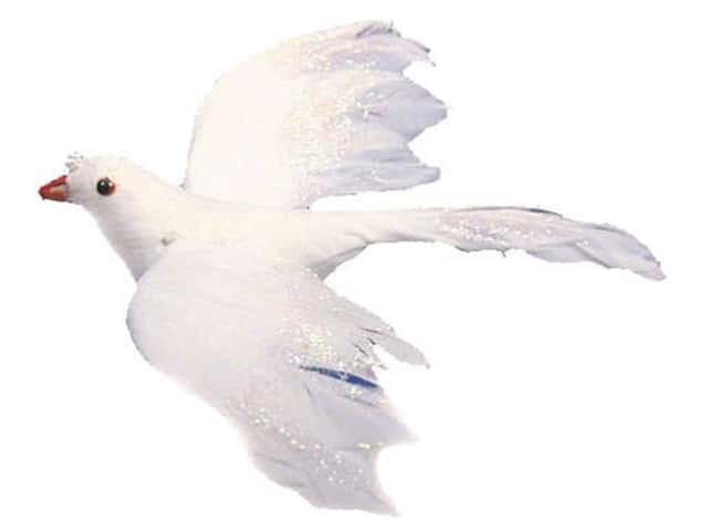 Accent Design Artificial Bird 5 in. Dove White Pearl Feather 1 pc.