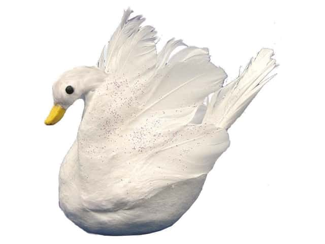 Accent Design Artificial Bird 4 in. Swan White Feather 1 pc.