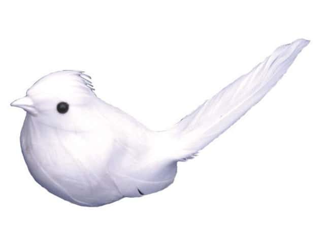 Accent Design Artificial Bird 3 1/2 in. Dove White Feather 1 pc.
