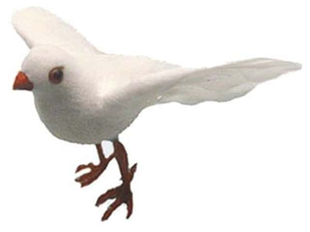 Accent Design Artificial Bird 3 in. Dove White Feather 1 pc.