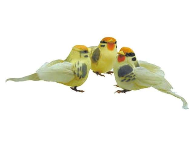 Accent Design Artificial Bird 4 in. Yellow/Orange/Grey Feather 1 pc.
