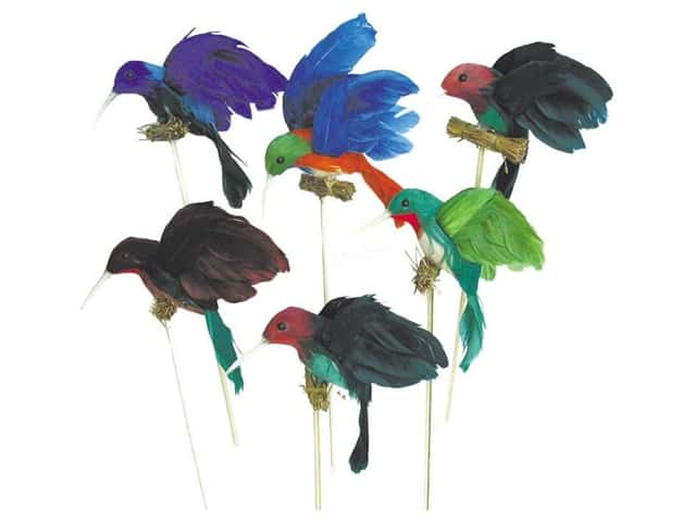 Accent Design Artificial Bird 3 in. Hummingbird on Perch Assorted Feather 1 pc.