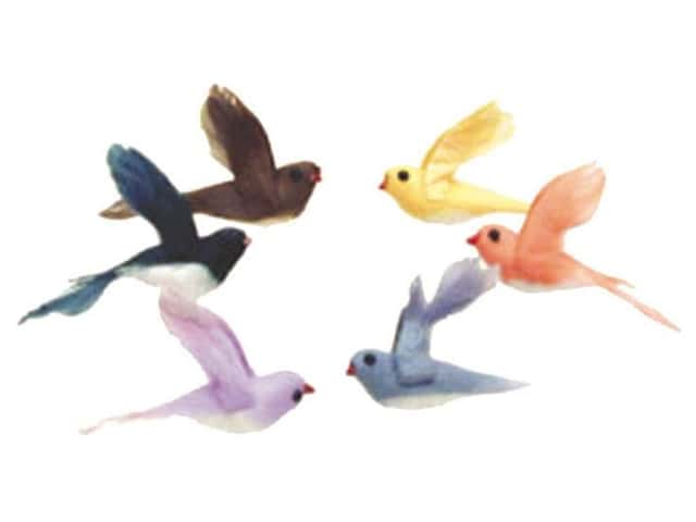 Accent Design Artificial Bird 2 in. Wren Asst Color Feather 6 pc.
