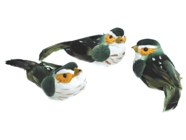 Accent Design Artificial Bird 2 1/2 in. Green/White/Tan Feather 1 pc.
