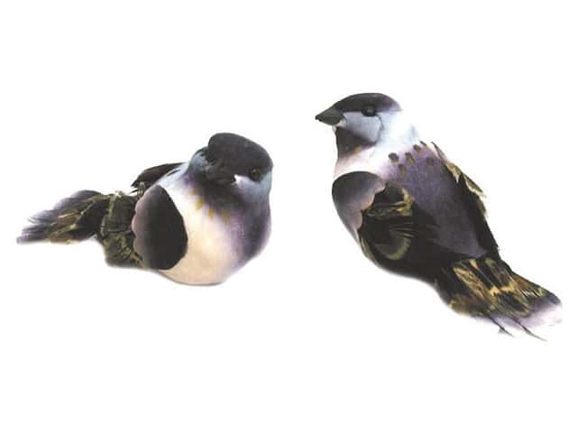 Accent Design Artificial Bird 3 1/4 in. Purple/White/Brown Feather 1 pc.