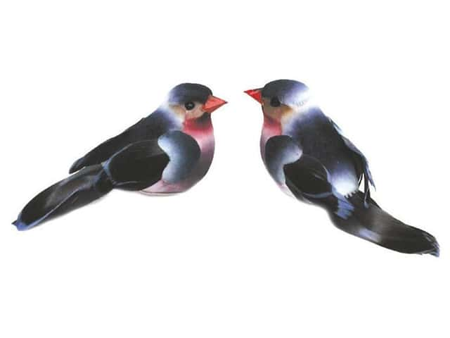 Accent Design Artificial Bird 2 1/2 in. Blue/Black/White/Pink Feather 1 pc.