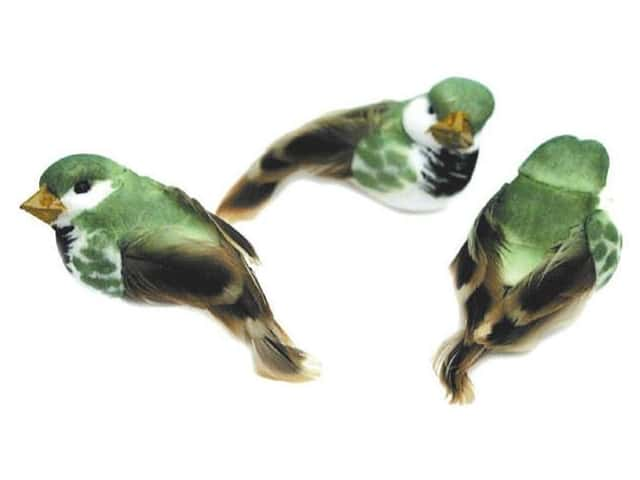 Accent Design Artificial Bird 1 in. Green/White/Brown Feather 3 pc.