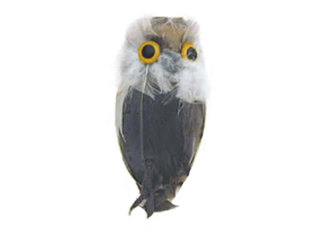 Accent Design Artificial Bird 3 in. Owl Grey/Brown Feather 1 pc.