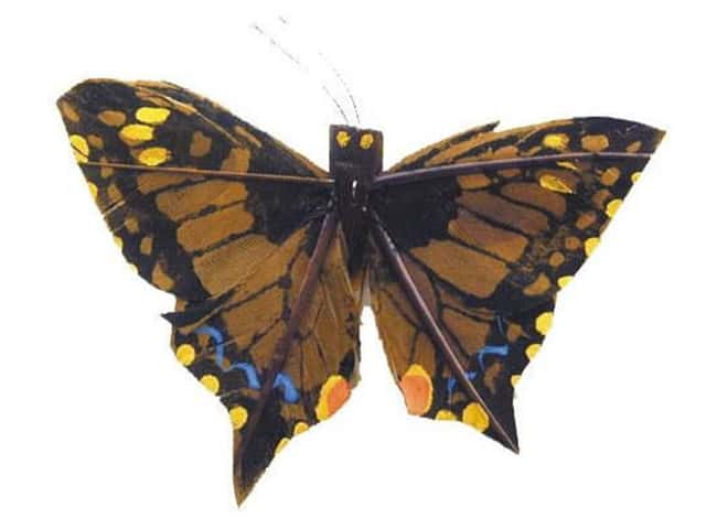 Accent Design Artificial Butterfly 2 3/4 in Brown/Yellow Feather 1 pc.