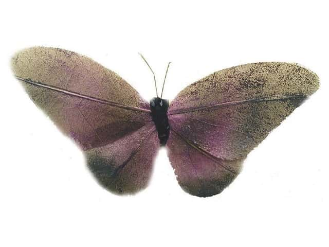 Accent Design Artificial Butterfly 5 in. Purple/Brown/Black Leaf 1 pc.
