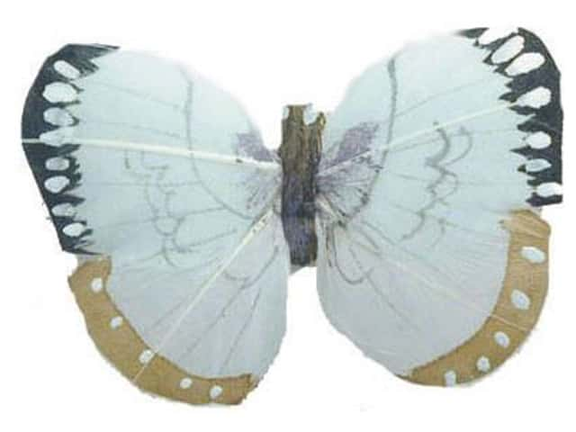 Accent Design Artificial Butterfly 3 in. Lt Blue/Black/Tan/White Feather 1 pc.