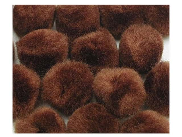 PA Essentials Pom Poms 3/8 in. Brown 16 pc.