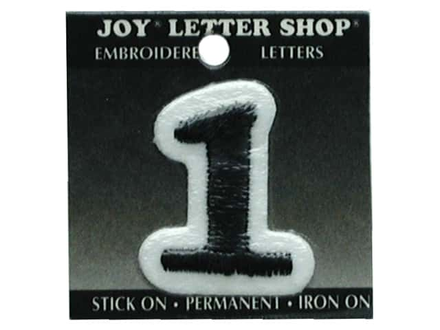 "Joy Lettershop Iron-On Number ""1"" Embroidered 1 1/2 in. Black"
