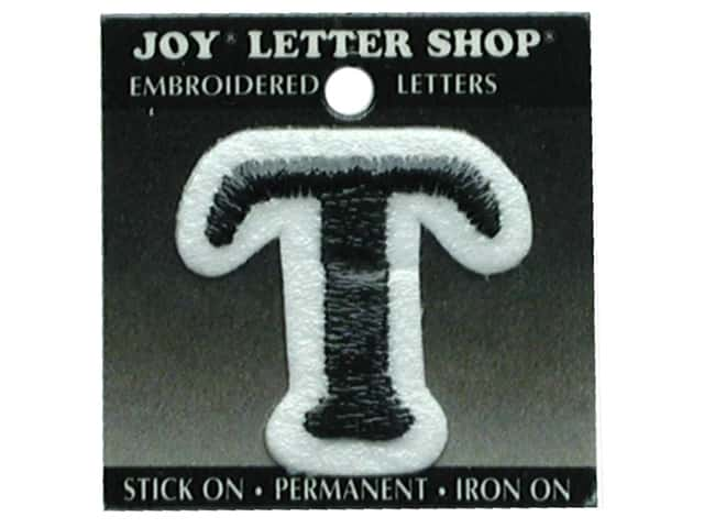 "Joy Lettershop Iron-On Letter ""T"" Embroidered 1 1/2 in. Black"