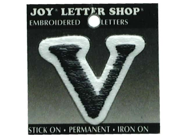 "Joy Lettershop Iron-On Letter ""V"" Embroidered 1 1/2 in. Black"