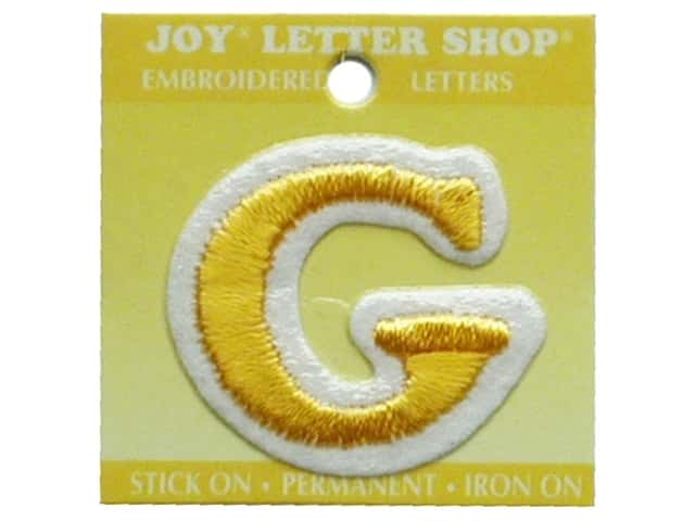 "Joy Lettershop Iron-On Letter ""G"" Embroidered 1 1/2 in. Gold"