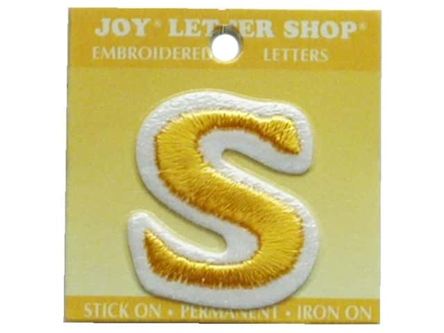 "Joy Lettershop Iron-On Letter ""S"" Embroidered 1 1/2 in. Gold"