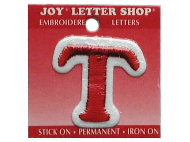 "Joy Lettershop Iron-On Letter ""T"" Embroidered 1 1/2 in. Red"